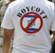 A boycotter at a BDS rally