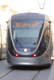 One of the shiny new trams