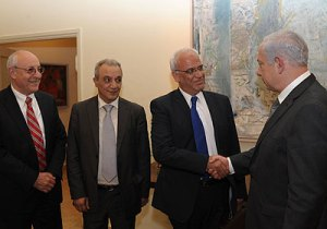 PA delegation meeting Prime Minister Netanyahu 17 April 2012